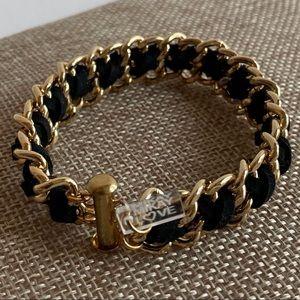 Vintage Mikay Love Black Suede Chain Bracelet